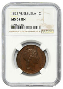 Venezuela, 1 Centavo, 1852, NGC MS 62 BN