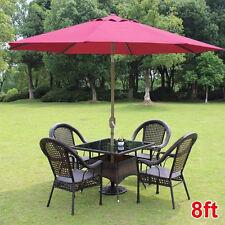 8ft Parasol Patio Table Outdoor Sun Shade Umbrella Market Yard Beach Crank Tilt