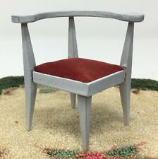 Artisan Wood Dollhouse Miniature Corner White Wood Chair With Red Velvet Seat