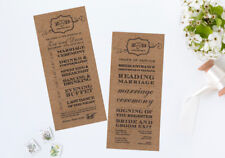 25 Personalised Rustic Brown Vintage Shabby Chic Wedding Order of Service Cards!