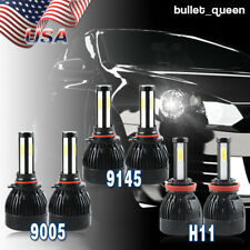 9005 H11 9145 LED Headlight+Fog Lights 6000K for Ford F-150 2015-18 Escape 13-16