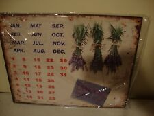 Country new hanging tin magnetic Lavender design 12 month Calender / any year