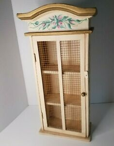 Vintage mini Cabinet hand painted Beige and gold with roses