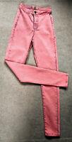 TOPSHOP JONI Stretch Skinny Jeans Pink Size 8S W26 28.5L Ladies Womens Acid Wash