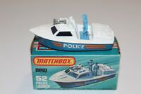 VTG Lesney Matchbox Superfast No. 52B Police Launch - Clear Blue Windows - Horns