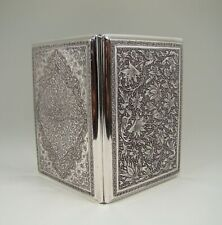 Antique Persian Solid Silver Birds & Flowers Cigarette Case