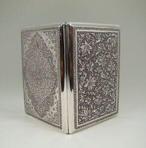 Antique Persian Solid Silver Birds & Flowers Cigarette Case