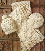 Aran Hat, Beret and Scarf Knitting Pattern Ladies Boys Girls 262