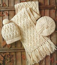 Aran Hat, Beret and Scarf Knitting Pattern Ladies Boys Girls 262