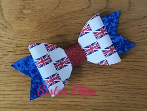 """Handmade girls Red white /& blue glitter 4/"""" bow bobble GB Olympics royal"""