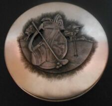Golf Collector Tin, Pewter Golfbag Scene on Lid. Tin is 6 in. by 6 in.