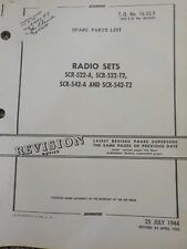 Technical Orders Spare Parts List Radio Sets SCR-522-A -T2 Aircraft Manuals Army