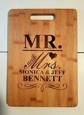 "Personalized Bamboo Cutting Board Wedding Christmas Anniversary 13 3/4"" x 9 3/4"""