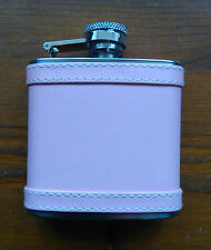 Pink Hip flask Leatherette covered metal 2.5oz Great fun ladies gift New