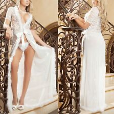Women Sheer Lingerie Long Transparent Dress Sleepwear Nightwear Gown+G String