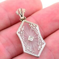 ART NOUVEAU Antique 14k White Gold Diamond & White Quartz Filigree Pendant