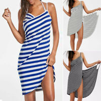Women Striped Swimwear Scarf Beach Cover Up Wrap Sarong Sling Skirt Maxi Dress
