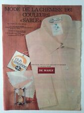 PUBLICITE ANNEES 60 CHEMISE CREATION NYLFRANCE - DE MARLY