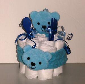 Diaper Cake Mini Blue Bear Head Wrap and Cloth Set with fork & spoon