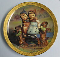 """MJ Hummel Danbury Mint Collector Plate """"Sisters are Life's Most Precious Gifts"""""""