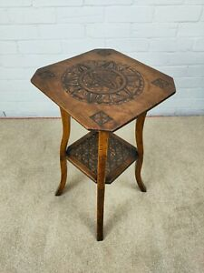 Antique Early 20thC Carved Hardwood Two Tier Table