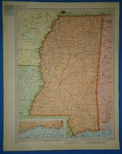 Vintage Circa 1952 Mississippi Map Old Original Atlas Map - Free S&H