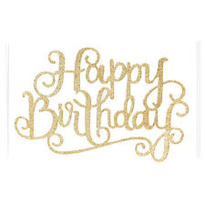Gold Silver Cake Topper Happy Birthday Home Party Supplies Decorations
