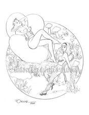 Sexy ALICE & THE QUEEN OF HEARTS original fantasy pin-up art by JOE ORSAK