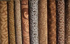 Nine (9) FAT QUARTER Fabric Bundle Brown Color Family Great Quilting Fabric