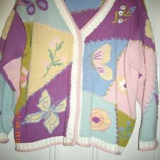 STORYBOOK KNITS 1X, SWEATER, LONG SLEEVES, BUTTERFLIES & FLOWERS THEME,