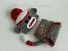 Newborn Baby Boy Girl Sock Monkey Hat and Diaper Cover Crochet Photo Prop Outfit