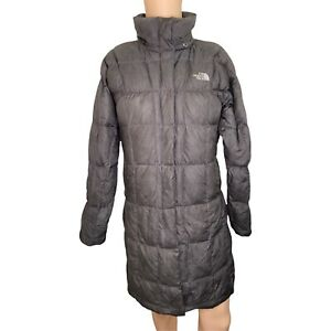 THE NORTH FACE Grey Long Full Zip Puffer Jacket Coat S Small 600 Goose Down