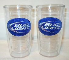 2 16 oz BUD LIGHT BLUE EMBROIDERED PATCH Insulated Double Wall TERVIS TUMBLERS