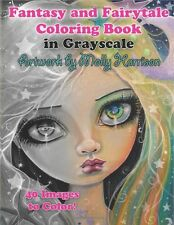 Fantasy Women Adult Colouring Book Halloween Fairy Faces Witches Greyscale Girls