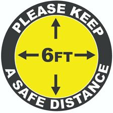 """Social Distancing 10"""" Vinyl Decal Sticker Sign Floor Marker- MADE IN USA"""