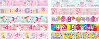 BIRTHDAY BANNERS FOR GIRLS PINK / MULTI COLOUR AGES 1 2 3 4 5 6 7 8 9 10 (AP)