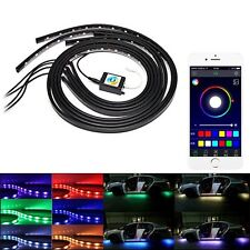"4x 48"" RGB LED Under Car Tube Strip Phone Control Underbody Glow Neon Light Kit"