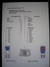 1957 Fairs Cup Semi Final (1st Leg) Birmingham City v Barcelona Matchsheet