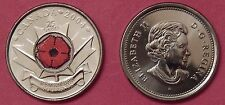Brilliant Uncirculated 2004P Canada Poppy Color 25 Cents From Mint's Roll