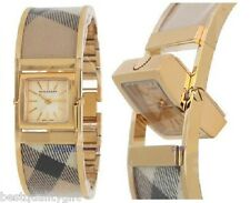 NEW-BURBERRY TAN PLAID+GOLD REVERSIBLE BANGLE BRACELET SWISS WATCH BU4935
