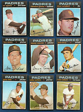 1971 Topps Lot of 26 San Diego Padres #25 262 426 482 589 611 656 696 711 737 ++