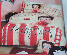 Betty Boop Candy Stripe Cream Red Printed Double Bed Quilt Cover Set New