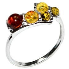 2.0g Authentic Baltic Amber 925 Sterling Silver Ring Jewelry N-A7223