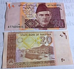 Pakistan Twent Rupees Rs 20 UNC Un Circulated Bank note Currency World Money