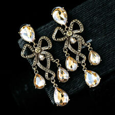 Costume Fashion Earring Studs Gold Huge Chandelier Filigree Weddings Bow X12