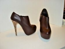 "Women's Forever 21 Brown Shoes/Boots, 5.5"" Small Gold Studded Heel, Size 7"