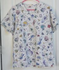 Mystery scrub top, womens, M, white with animals, veterenary motif