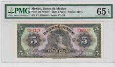 ******  1950 ******  Mexico Banco de Mexico 5 Pesos  P#34l  PMG 65 EPQ  .GEM UNC