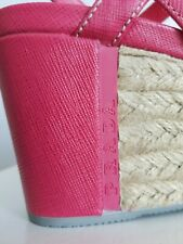 PRADA SPORT Pink SAFFIANO Leather LOGO Espadrille Wedges 36.5  I LOVE SHOES