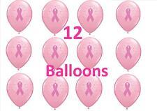 Lot of 12 *WHOLESALE LOT* Pink Ribbon Breast Cancer Awareness Latex Balloons BWT